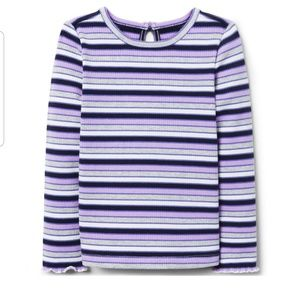 Janie and Jack Baby Girls Striped Ribbed Top